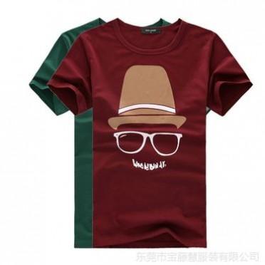 厂家直供2014夏装新款日韩潮流印花短袖男式T恤 韩版男装批发