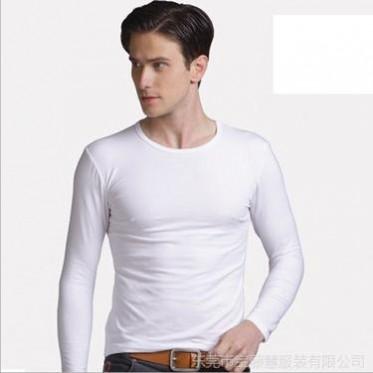 春秋裝新款T恤 男 緊身T恤 純色男士打底衫 長袖圓領空白T恤批發