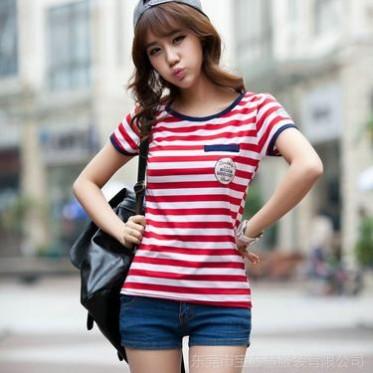欧美条纹T恤女短袖海魂衫 牛奶冰丝夏装新款上衣 条纹打底衫 体恤