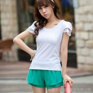 2014春夏韓版大碼女裝體恤 修身白色純棉打底衫短袖蕾絲T恤