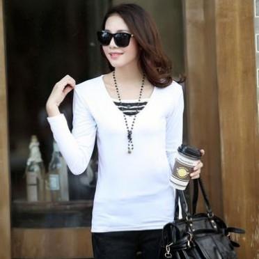 2014秋冬裝新款韓版女裝時尚修身打底衫假兩件V領條紋紐扣長袖T恤