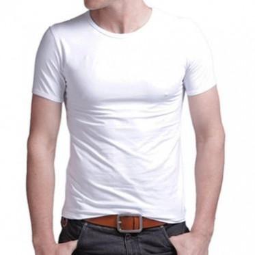夏装新款潮紧身弹力棉男士t恤纯色短袖 韩版圆领修身打底空白t恤