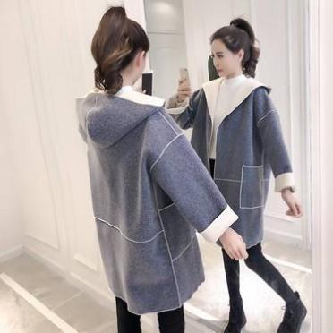 夹棉加厚尾货女式毛呢大衣女2020黑色赫本长款过膝冬款妮子双排扣毛呢外套