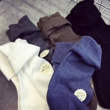 2016秋冬必備韓國復古純色中筒堆堆襪女襪純棉學哇學生保暖襪