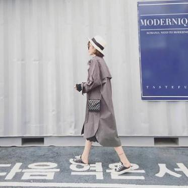 ZIA2016韓國洋氣寬松中長款純棉立領工裝風衣大碼女裝休閑外套