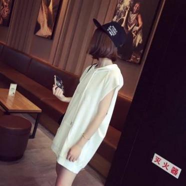2016韓版學院風刺繡字母寬松顯瘦連帽無袖套頭衛衣女休閑外套
