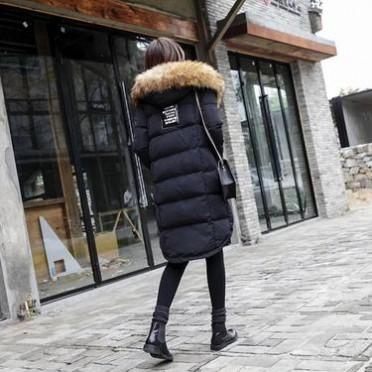 ZIA韓版標簽貼布高品質大毛領中長款面包服女秋冬季棉衣外套