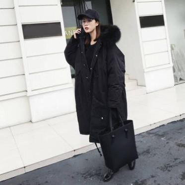 冬裝新款韓版羽絨服女中長款過膝加厚真狐貍毛領連帽羽絨外套潮