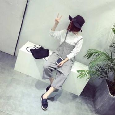 2016韓版復古細格子寬松顯瘦純棉背帶褲大碼女裝休閑九分褲