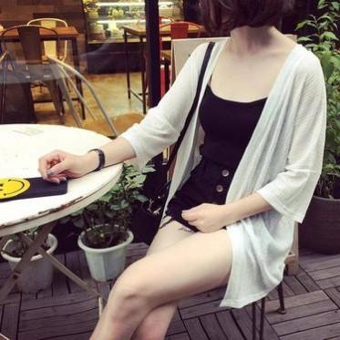 韓版百搭寬松冰沙薄款七分袖披肩短外套女休閑防曬衣開衫