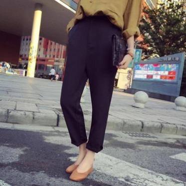 2016韩版气质百搭宽松显瘦休闲西装裤女高腰小脚九分裤锥形裤