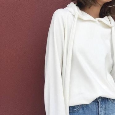 2016秋季衛衣女白色套頭超長袖連帽寬松顯瘦外套休閑運動上衣