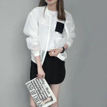 韓國百搭薄款歐根紗立領拉鏈短外套女休閑防曬衣棒球服夏73