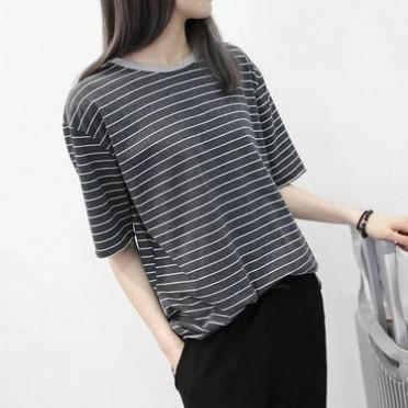 韓版簡約細條紋純棉百搭寬松顯瘦圓領卷邊短袖T恤女打底衫夏新款