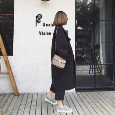 2016韩国秋冬款茧型宽松长袖呢子大衣女中长款毛呢风衣外套潮