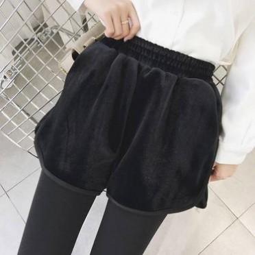2016韓國秋冬款厚實外穿金絲絨短款女高腰顯瘦學生闊腿短褲