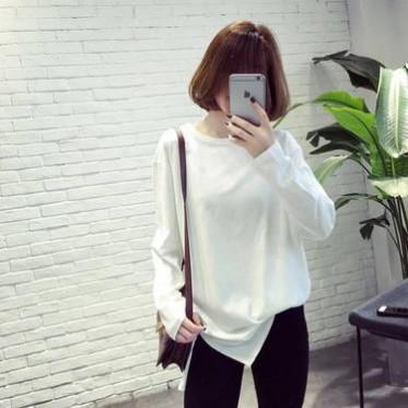 2016韩版秋冬款显瘦中长款T恤女宽松休闲内搭学生长袖打底衫
