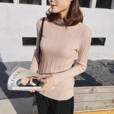秋冬打的纯色针织衫女显瘦韩版半高领修身弹力竖条长袖套头毛衣潮