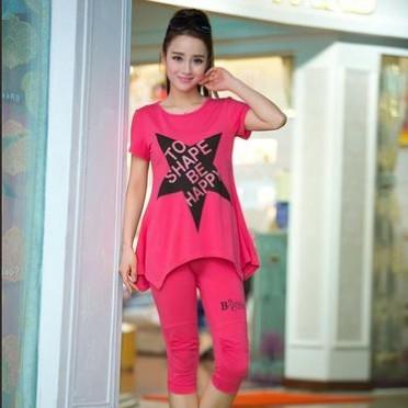 新款大碼女裝韓版休閑套裝女夏短袖中長款T恤女寬松七分褲套裝女