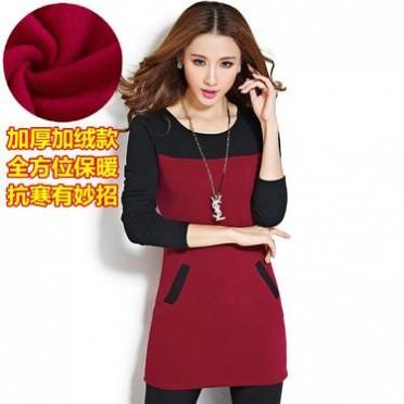 2016新款春装韩版大码T恤上衣修身中长款加厚加绒打底衫女长袖