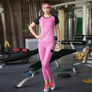 新款瑜伽服上衣短袖女跑步瑜珈速干運動t恤短袖 健身房跑步服裝