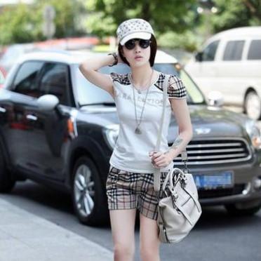 2016新款女裝 夏季格子短袖短褲時尚韓版女士運動 休閑套裝
