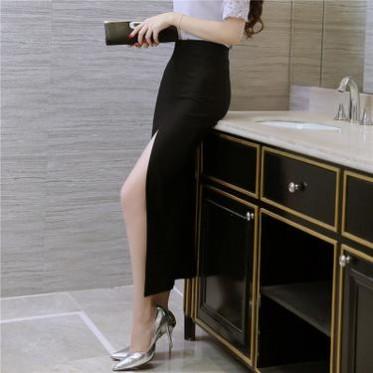 批发简约黑色时尚性感前开叉长裙旗袍裙弹力包臀裙职业裙半身裙女