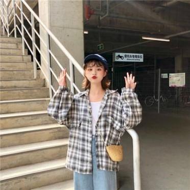 春夏防晒衬衫女式韩版宽松透气学生bf风格子外套衬衣百搭麻棉上衣