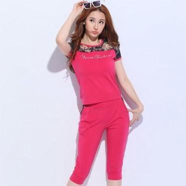 夏款套装 女运动休闲套装韩版修身蕾丝运动服两件套短衬七分裤