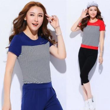 2016夏款套裝 女韓版時尚套裝女夏七分褲大碼短袖運動套裝女