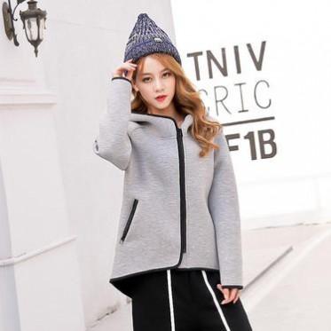 2016秋冬新款歐美寬松太空棉衛衣高領連帽開衫外套上衣女裝
