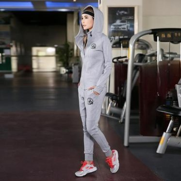 2017春秋新款女士運動套裝大碼顯瘦連帽衛衣跑步休閑服修身兩件套