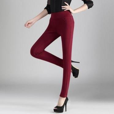 2015冬季新款韓版女式休閑褲修身抓絨鉛筆褲緊身小腳褲加絨女褲