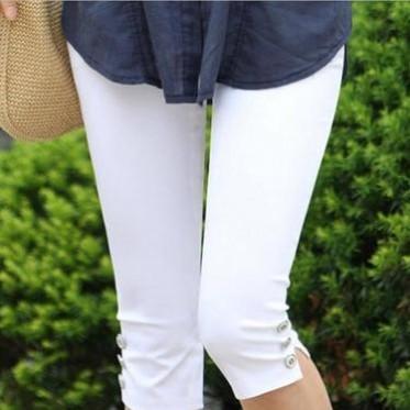 2016新款夏季大码女装休闲裤 女式七分铅笔裤子纯棉纯色小脚女裤