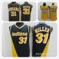 现货步行者31号米勒 复古三拼色黄色深蓝色网眼篮球服NBA球衣批发